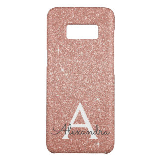Pink Rose Gold Glitter and Sparkle Monogram Case-Mate Samsung Galaxy S8 Case