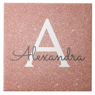 Pink Rose Gold Glitter and Sparkle Monogram Ceramic Tile