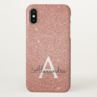 Pink Rose Gold Glitter and Sparkle Monogram iPhone X Case