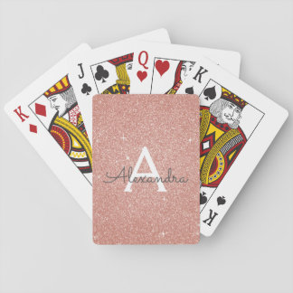 Pink Rose Gold Glitter and Sparkle Monogram Playing Cards