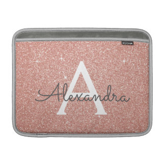 Pink Rose Gold Glitter and Sparkle Monogram Sleeve For MacBook Air