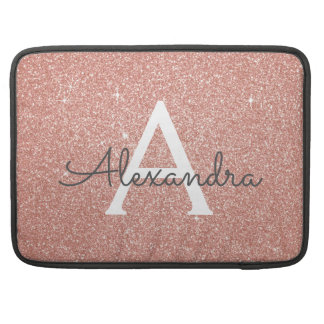 Pink Rose Gold Glitter and Sparkle Monogram Sleeve For MacBook Pro