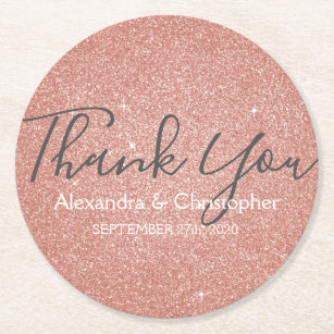 Pink Rose Gold Glitter and Sparkle Thank You Round Paper Coaster