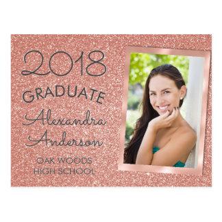 Pink Rose Gold Glitter Graduation Announouncement Postcard