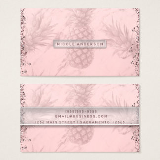 Pink Rose Gold Glitter Pineapple Tropical Chic Business Card