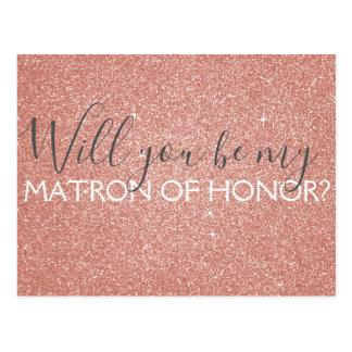 Pink Rose Gold Glitter & Sparkle Matron of Honor Postcard