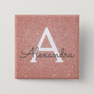 Pink Rose Gold Glitter & Sparkle Monogram 15 Cm Square Badge