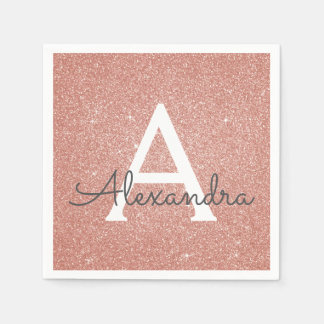 Pink Rose Gold Glitter & Sparkle Monogram Birthday Disposable Serviettes