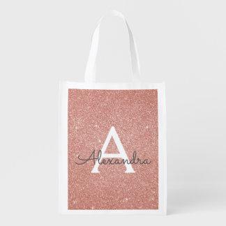 Pink Rose Gold Glitter & Sparkle Monogram Birthday Reusable Grocery Bag