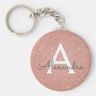 Pink Rose Gold Glitter & Sparkle Monogram Key Ring