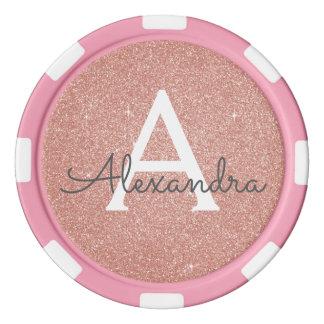 Pink Rose Gold Glitter & Sparkle Monogram Poker Chips