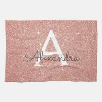 Pink Rose Gold Glitter & Sparkle Monogram Tea Towel