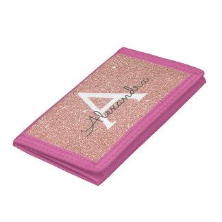 Pink Rose Gold Glitter & Sparkle Monogram Tri-fold Wallets
