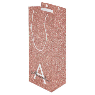 Pink Rose Gold Glitter & Sparkle Monogram Wine Gift Bag