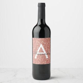 Pink Rose Gold Glitter & Sparkle Monogram Wine Label