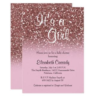 Pink Rose Gold Glitter Sprinkle Baby Shower Invite
