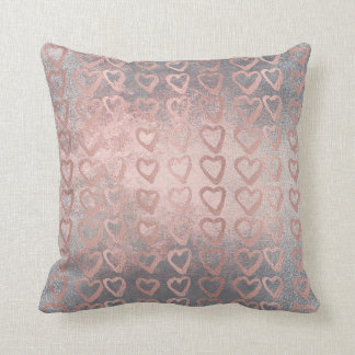 Pink Rose Gold Heart Gray Deluxe Cement Silver Cushion