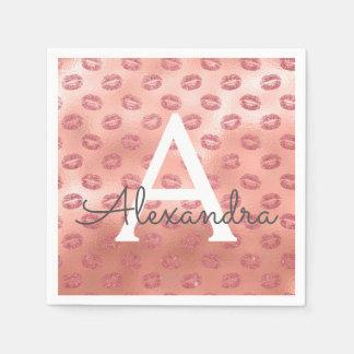 Pink Rose Gold Lipstick Kisses Monogram Birthday Disposable Serviettes