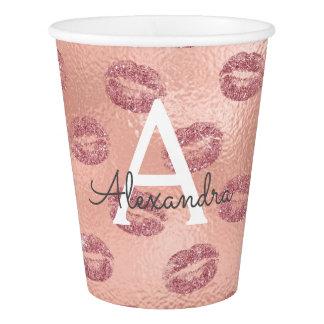 Pink Rose Gold Lipstick Kisses Monogram Birthday Paper Cup