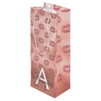 Pink Rose Gold Lipstick Kisses Monogram Birthday Wine Gift Bag