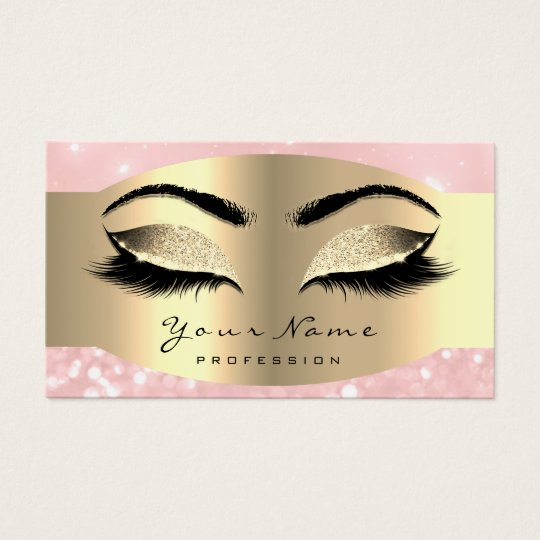 Pink Rose Gold Makeup Artist Lash Black Brows Business Card