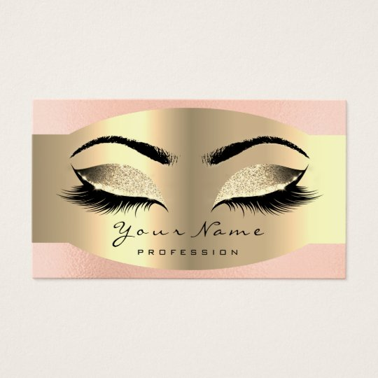 Pink Rose Gold Makeup Artist Lash Extension Brows Business Card