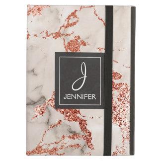 Pink Rose Gold Marble Elegant Monogram Cover For iPad Air