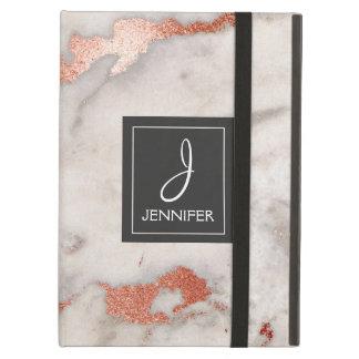 Pink Rose Gold Marble Elegant Monogram iPad Air Cover