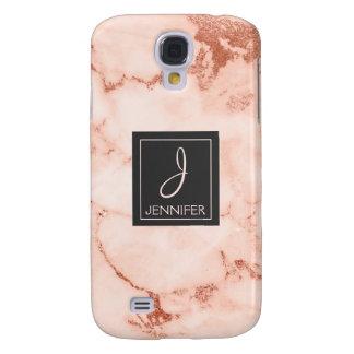 Pink Rose Gold Marble Elegant Monogram Samsung Galaxy S4 Cover