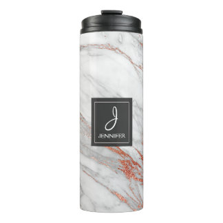 Pink Rose Gold Marble Elegant Monogram Thermal Tumbler