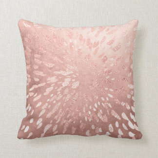 Pink Rose Gold Metal Blush Gold Gray Stripes Shine Cushion
