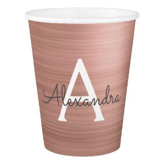 Pink Rose Gold Metal Monogram Name Paper Cup