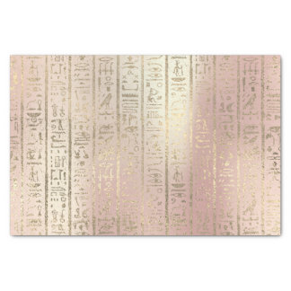 Pink Rose Gold Metallic Blush Egyptian Hieroglyphs Tissue Paper
