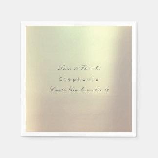Pink Rose Gold Metallic Blush Wedding Paper Napkin