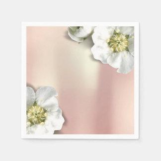 Pink Rose Gold Metallic Blush White Jasmine Disposable Napkin