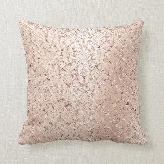Pink Rose Gold Metallic Damask Royal Crystals Lux Cushion