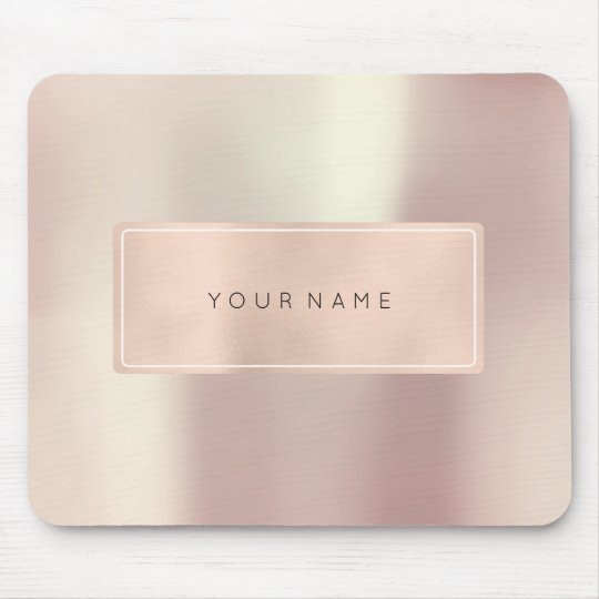 Pink Rose Gold Metallic Minimal Framed Beauty Mouse Pad