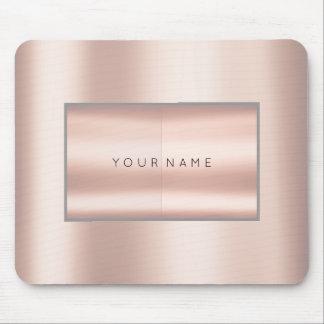 Pink Rose Gold Metallic Minimal Gray Geometry Gray Mouse Pad