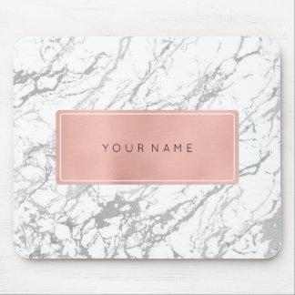 Pink Rose Gold Metallic Minimal White Marble Gray Mouse Pad