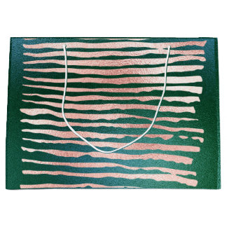 Pink Rose Gold Metallic Strokes Lines  Tropical Large Gift Bag