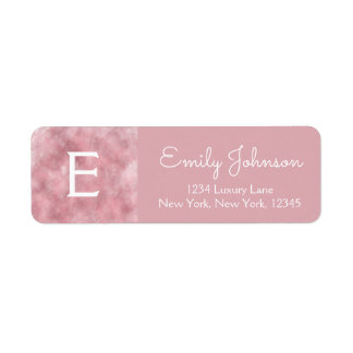 Pink Rose Gold Monogram Watercolor Return Address Label