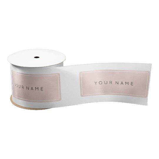 Pink Rose Gold Name  Metallic Minimal Rectangular Satin Ribbon