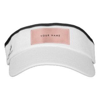 Pink Rose Gold Powder Faux White Minimal Logo Visor