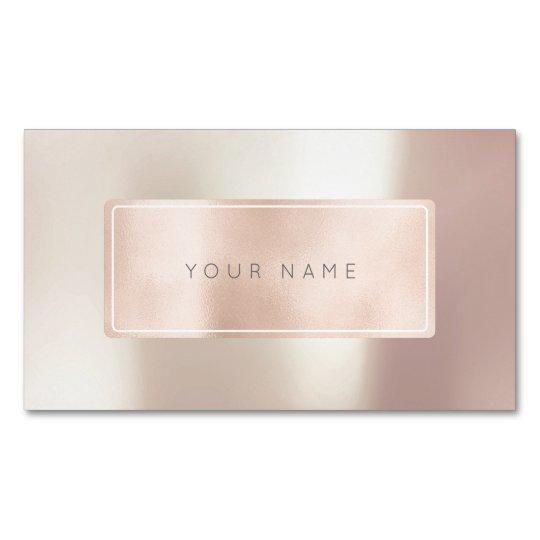 Pink Rose Gold Powder Metal Blush Rectangular Logo Magnetic Business Card