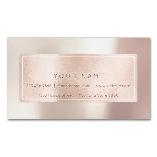 Pink Rose Gold Powder Metal Blush Rectangular Name Magnetic Business Card