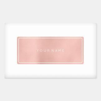Pink Rose Gold Powder Metallic Rectangular Silver Rectangular Sticker