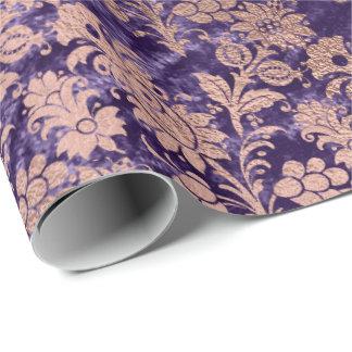 Pink Rose Gold Powder Purple Velvet Violet Floral Wrapping Paper