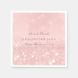 Pink Rose Gold Powder Sparkly Glitter Custom Paper Napkins