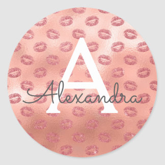 Pink Rose Gold Sexy Lipstick Kisses Monogram Classic Round Sticker