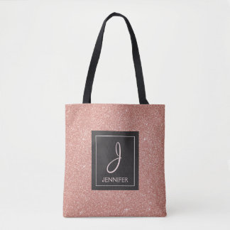 Pink Rose Gold Sparkle Elegant Monogram Book Bag